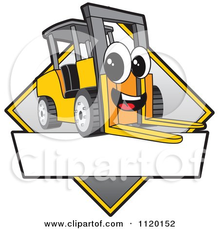 Cartoon Of A Happy Forklift Mascot Sign Or Logo - Royalty Free Vector Clipart by Toons4Biz