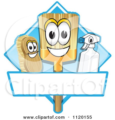 Cartoon Of A Happy Broom Scrub Brush And Spray Bottle Mascots On A Blue Cleaning Sign Or Logo - Royalty Free Vector Clipart by Toons4Biz