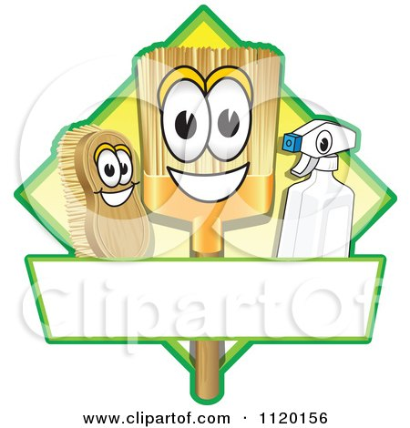 Cartoon Of A Happy Broom Scrub Brush And Spray Bottle Mascots On A Yellow Cleaning Sign Or Logo - Royalty Free Vector Clipart by Toons4Biz