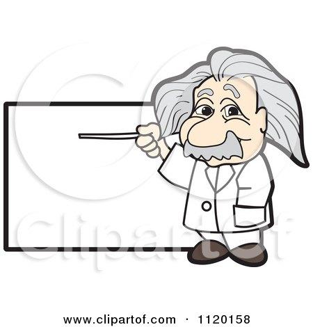 Cartoon Of An Albert Einstein Scientist Sign Or Logo 1 - Royalty Free Vector Clipart by Toons4Biz
