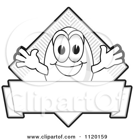 Cartoon Of A Grayscale Egg Logo Or Sign - Royalty Free Vector Clipart by Toons4Biz