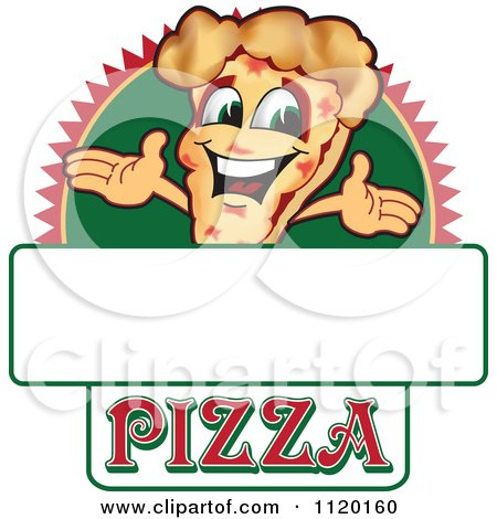 Cartoon Of A Happy Pizza Mascot Sign Or Logo 1 - Royalty Free Vector Clipart by Toons4Biz