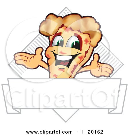 Cartoon Of A Happy Pizza Mascot Sign Or Logo 7 - Royalty Free Vector Clipart by Toons4Biz