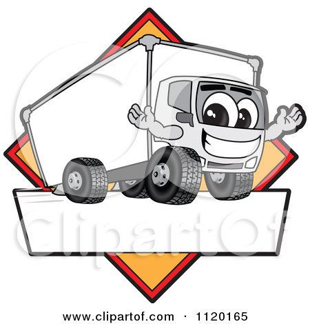 Cartoon Of A Happy Delivery Big Rig Truck Mascot Sign Or Logo With A Yellow Diamond - Royalty Free Vector Clipart by Toons4Biz