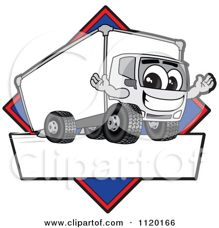 Cartoon Of A Happy Delivery Big Rig Truck Mascot Sign Or Logo With A Blue Diamond - Royalty Free Vector Clipart by Toons4Biz