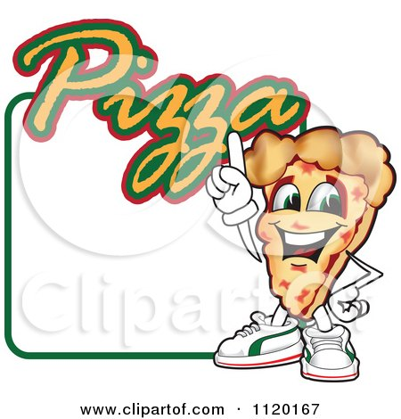 Cartoon Of A Happy Pizza Mascot Sign Or Logo 4 - Royalty Free Vector Clipart by Toons4Biz