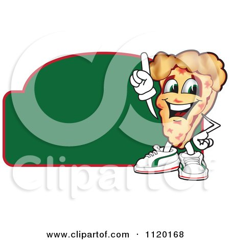 Cartoon Of A Happy Pizza Mascot Sign Or Logo 5 - Royalty Free Vector Clipart by Toons4Biz