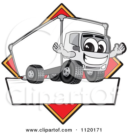 Cartoon Of A Happy Delivery Big Rig Truck Mascot Sign Or Logo With A Red Diamond - Royalty Free Vector Clipart by Toons4Biz