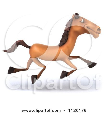 Clipart Of A 3d Horse Running - Royalty Free CGI Illustration by Julos
