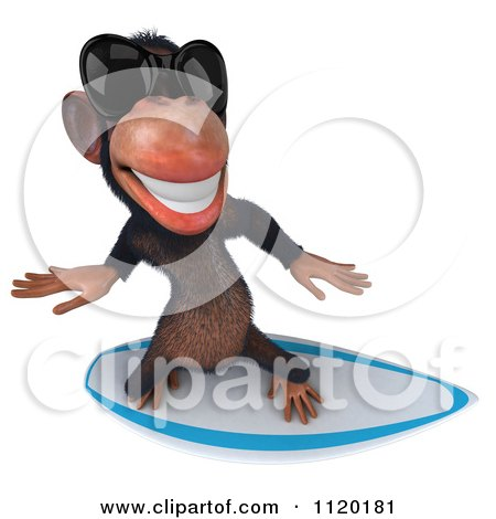 Clipart Of A 3d Chimp Wearing Shades And Surfing 3 - Royalty Free CGI Illustration by Julos