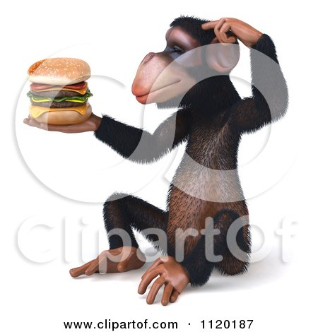 Clipart Of A 3d Thinking Chimp Holding A Cheeseburger 2 - Royalty Free CGI Illustration by Julos