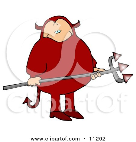 Fat Man in a Red Devil Costume, Carrying a Pitchfork Clipart Picture by Dennis Cox