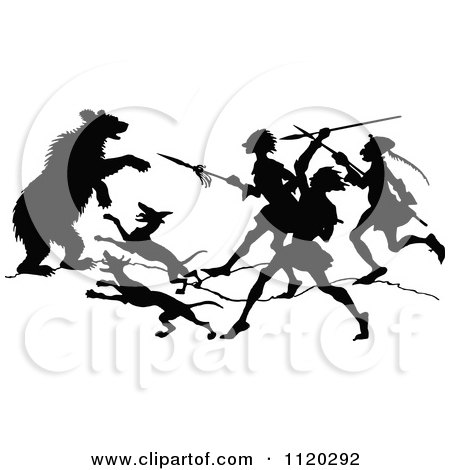 Clipart Of A Silhouetted Bear Attacking Dogs And People - Royalty Free Vector Illustration by Prawny Vintage