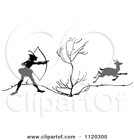 Clipart Of A Silhouetted Archer Deer Hunter Aiming - Royalty Free Vector Illustration by Prawny Vintage
