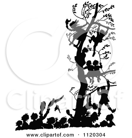 Clipart Of Silhouetted Children In A Tree Above People Celebrate In
