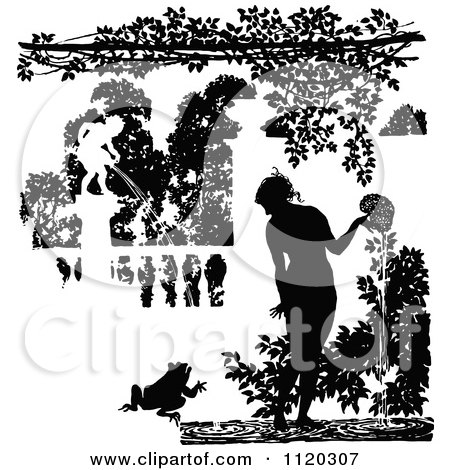 Clipart Of Silhouetted Water Garden Fountains - Royalty Free Vector Illustration by Prawny Vintage