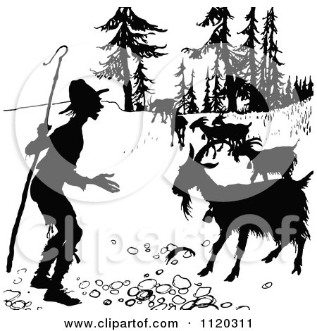 Clipart Of A Silhouetted Shepherd And Goats - Royalty Free Vector Illustration by Prawny Vintage