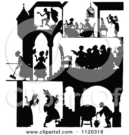 Clipart Of A Silhouetted Castle With People Inside 1 - Royalty Free Vector Illustration by Prawny Vintage