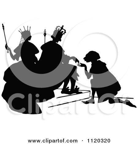Clipart Of A Silhouetted Man Kneeling To The King And Queen - Royalty Free Vector Illustration by Prawny Vintage