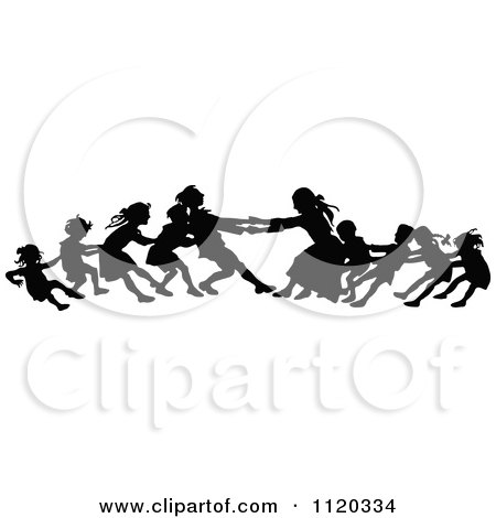 Clipart Of Silhouetted Children Playing Tug Of War - Royalty Free Vector Illustration by Prawny Vintage
