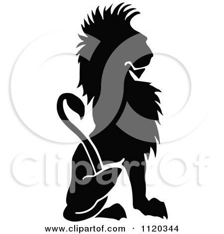 Clipart Of A Silhouetted Sitting Lion - Royalty Free Vector Illustration by Prawny Vintage