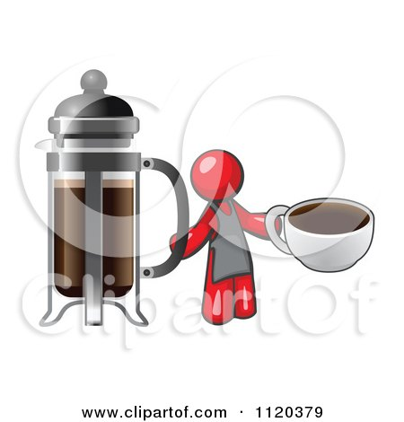 Cartoon Of A Red Man Barista Holding A Cup Of Coffee By A French Press - Royalty Free Vector Clipart by Leo Blanchette