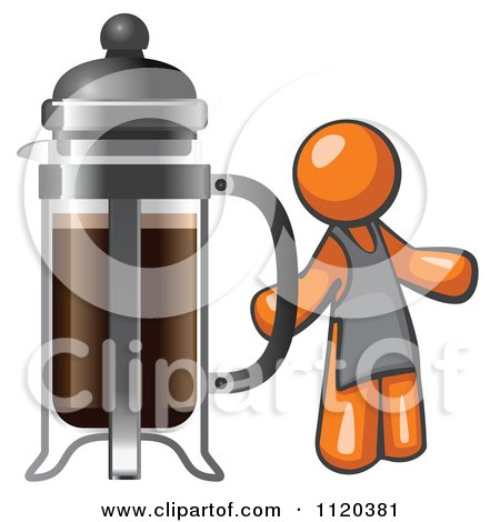 Cartoon Of An Orange Man Barista By A Coffee French Press - Royalty Free Vector Clipart by Leo Blanchette