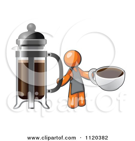 Cartoon Of An Orange Man Barista Holding A Cup Of Coffee By A French Press - Royalty Free Vector Clipart by Leo Blanchette