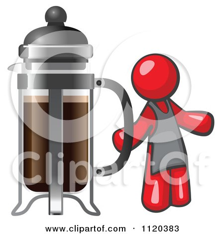 Cartoon Of A Red Man Barista By A Coffee French Press - Royalty Free Vector Clipart by Leo Blanchette