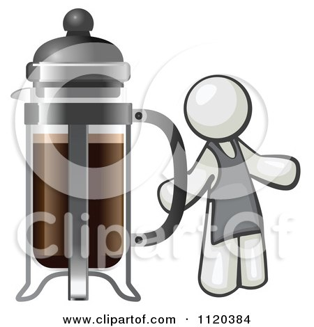Cartoon Of A White Man Barista By A Coffee French Press - Royalty Free Vector Clipart by Leo Blanchette