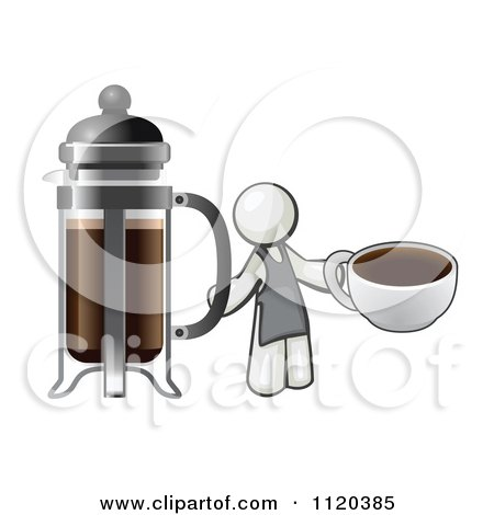 Cartoon Of A White Man Barista Holding A Cup Of Coffee By A French Press - Royalty Free Vector Clipart by Leo Blanchette