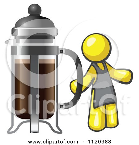 Cartoon Of A Yellow Man Barista By A Coffee French Press - Royalty Free Vector Clipart by Leo Blanchette