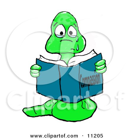Teary Eyed Sad Bookworm Reading A Book About Compassion Clipart Illustration
