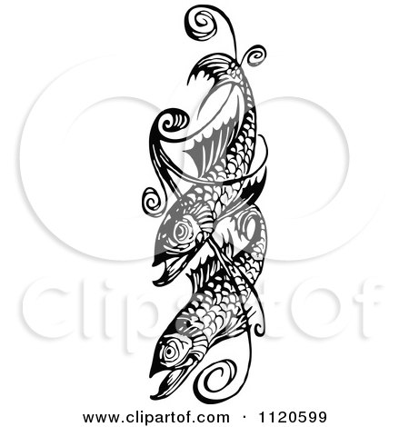Clipart Of A Retro Vintage Black And White Fish And Swirl Design - Royalty Free Vector Illustration by Prawny Vintage