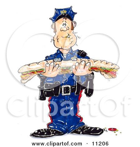Hungry Male Cop in Uniform Trying to Chew a Giant Bite While Holding a Large Submarine Sandwich Posters, Art Prints
