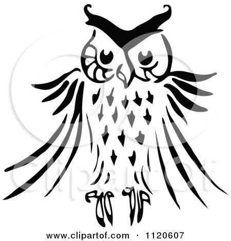 Clipart Of A Retro Vintage Black And White Owl - Royalty Free Vector Illustration by Prawny Vintage