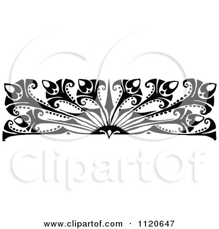 Clipart Of A Retro Vintage Black And White Art Deco Border 2 ...