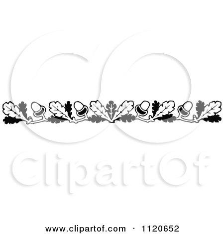 Clipart Of A Retro Vintage Black And White Oak Leaf And Acorn Border - Royalty Free Vector Illustration by Prawny Vintage