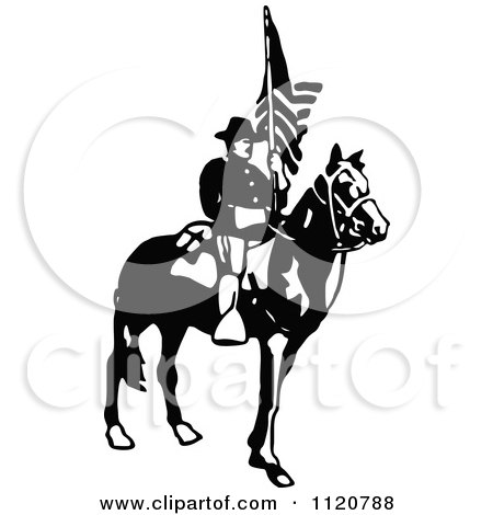 Clipart Of A Retro Vintage Black And White Army Soldier With A Flag 3 - Royalty Free Vector Illustration by Prawny Vintage