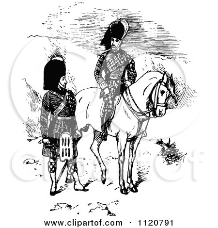 Clipart Of Retro Vintage Black And White Scottish Highlander Soldiers - Royalty Free Vector Illustration by Prawny Vintage