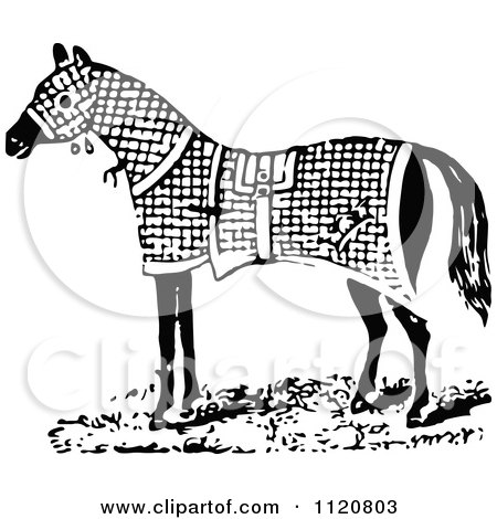 blanket clipart black and white. retro vintage black and white horse in a blanket clipart