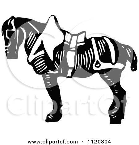 Clipart Of A Retro Vintage Black And White Saddled Horse - Royalty Free Vector Illustration by Prawny Vintage
