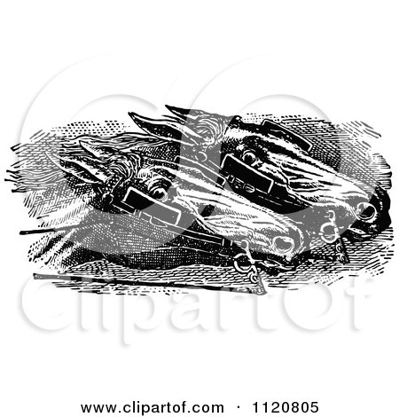 Clipart Of Retro Vintage Black And White Racing Horses Head To Head - Royalty Free Vector Illustration by Prawny Vintage