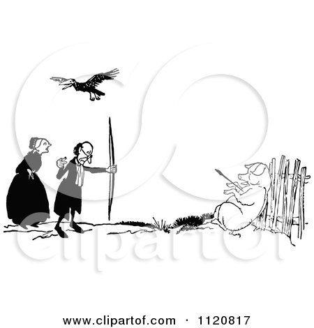 Clipart Of A Retro Vintage Black And White Bird Over A Man Shooting A Pig - Royalty Free Vector Illustration by Prawny Vintage