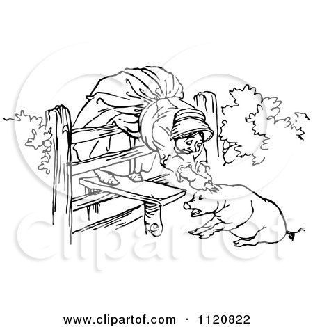 Clipart Of A Retro Vintage Black And White Old Woman And ...