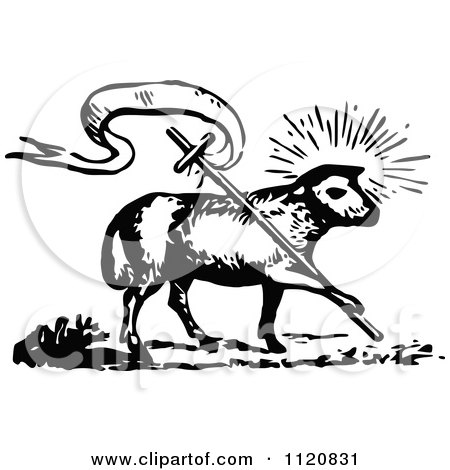 Clipart Of A Retro Vintage Black And White Lamb Of God With A Cross - Royalty Free Vector Illustration by Prawny Vintage