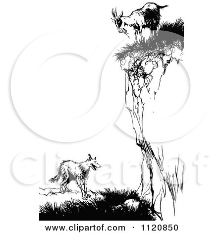 Clipart Of A Retro Vintage Black And White Goat On A Cliff Over A Fox - Royalty Free Vector Illustration by Prawny Vintage