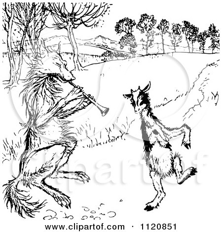 Clipart Of A Retro Vintage Black And White Fox And Goat Dancing - Royalty Free Vector Illustration by Prawny Vintage