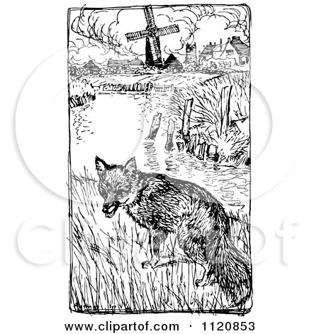 Clipart Of A Retro Vintage Black And White Fox Near A Pond And Farm - Royalty Free Vector Illustration by Prawny Vintage