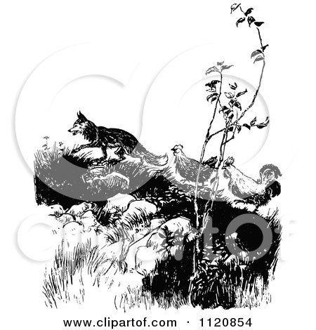 Clipart Of A Retro Vintage Black And White Fox Luring Chickens Up A Hill - Royalty Free Vector Illustration by Prawny Vintage